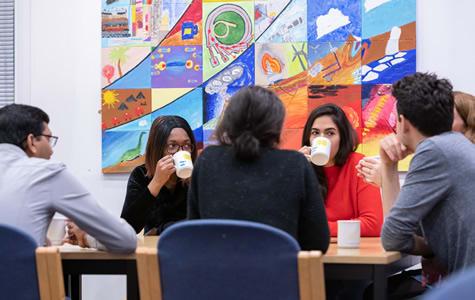 PhD students enjoying a coffee break